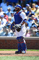 Chicago Cubs catcher Welington Castillo (5) during a game against the Milwaukee Brewers on August 14, 2014 at Wrigley Field in Chicago, Illinois.  Milwaukee defeated Chicago 6-2.  (Mike Janes/Four Seam Images)