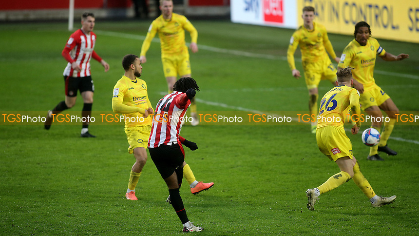 Tariqe Fosu scores Brentford's third goal during Brentford vs Wycombe Wanderers, Sky Bet EFL Championship Football at the Brentford Community Stadium on 30th January 2021
