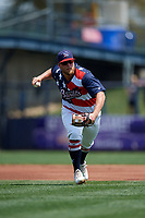 Quad Cities River Bandits third baseman Colton Shaver (37) throws to first base during a game against the West Michigan Whitecaps on July 23, 2018 at Modern Woodmen Park in Davenport, Iowa.  Quad Cities defeated West Michigan 7-4.  (Mike Janes/Four Seam Images)