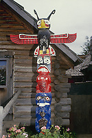 Totem pole outside lodge on Vancouver Island BC