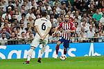 Real Madrid's Nacho Fernandez and Atletico de Madrid's Juanfran Torres during La Liga match between Real Madrid and Atletico de Madrid at Santiago Bernabeu Stadium in Madrid, Spain. September 29, 2018. (ALTERPHOTOS/A. Perez Meca)