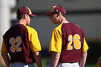March 7, 2010:  Coach Jeff Opalewski (26) (26) and Dietrich Enns (32) of the Central Michigan Chippewas during game at Jay Bergman Field in Orlando, FL.  Central Michigan defeated Central Florida by the score of 7-4.  Photo By Mike Janes/Four Seam Images