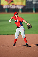 Matt McCann (1) of the Orem Owlz on defense against the Ogden Raptors in Pioneer League action at Lindquist Field on June 21, 2017 in Ogden, Utah. The Owlz defeated the Raptors 16-5. This was Opening Night at home for the Raptors.  (Stephen Smith/Four Seam Images)