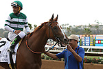 """DEL MAR, CA  JULY 30:#2 Stellar Wind with Victor Espinoza after winning the Clement L. Hirsch Stakes (Gl) """"Win and You're in Breeders' Cup Distaff Division"""" at Del Mar Turf Club in Del Mar, CA on July 30, 2016. (Photo by Casey Phillips/Eclipse Sportswire/Getty Images)DEL MAR, CA  JULY 30: #2 Stellar Wind with Victor Espinoza beat Beholder and Gary Stevens in the Clement L. Hirsch Stakes (Gl) """"Win and You're in Breeders' Cup Distaff Division"""" at Del Mar Turf Club in Del Mar, CA on July 30, 2016. (Photo by Casey Phillips/Eclipse Sportswire/Getty Images)"""
