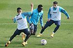 Getafe CF's Angel Rodriguez, Djene Dakonam and Mathias Olivera during training session. February 17, 2021.(ALTERPHOTOS/Acero)
