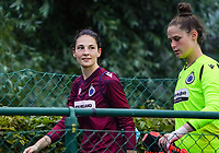 20200723, BEVEREN ,  BELGIUM : Brugge's Frieke Temmerman pictured with Brugge's goalkeeper Femke Schamp during a friendly soccer game between Bosdam Beveren and Club Brugge YLA Dames  in the preparations for the coming season 2020 - 2021 of Belgian Women's SuperLeague ,23 th of July 2020  in Beveren , Belgium . PHOTO SPORTPIX.BE | SEVIL OKTEM