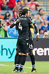 Crystal Palace midfielder Luka Milivojevic (L) celebrates with teammate Bakary Sako during the Premier League Asia Trophy match between West Bromwich Albion and Crystal Palace at Hong Kong Stadium on 22 July 2017, in Hong Kong, China. Photo by Weixiang Lim / Power Sport Images