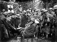 Wounded German prisoners receiving medical attention at first-aid station of 103rd and 104th Ambulance Companies.  German second-line trench.  September 12, 1918.  Pvt. J. M. Liles. (Army)<br /> NARA FILE #:  111-SC-23442<br /> WAR & CONFLICT BOOK #:  686