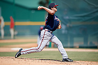 Atlanta Braves pitcher Keith Weisenberg (45) during a minor league Spring Training game against the Pittsburgh Pirates on March 13, 2018 at Pirate City in Bradenton, Florida.  (Mike Janes/Four Seam Images)