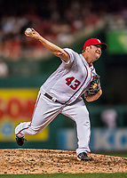 15 August 2017: Washington Nationals pitcher Matt Albers on the mound in relief against the Los Angeles Angels at Nationals Park in Washington, DC. The Nationals defeated the Angels 3-1 in the first game of their 2-game series. Mandatory Credit: Ed Wolfstein Photo *** RAW (NEF) Image File Available ***