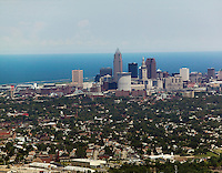 aerial photograph of the Cleveland,  Ohio skyline, Lake Erie in the background