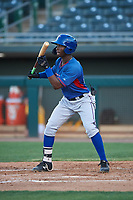 AZL Rangers Keithron Moss (24) squares to bunt during an Arizona League game against the AZL Athletics Gold on July 15, 2019 at Hohokam Stadium in Mesa, Arizona. The AZL Athletics Gold defeated the AZL Rangers 9-8 in 11 innings. (Zachary Lucy/Four Seam Images)
