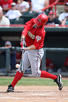 Harrisburg Senators outfielder Bryce Harper #34 hits a double during a game against the Erie SeaWolves at Jerry Uht Park on August 7, 2011 in Erie, Pennsylvania.  Harrisburg defeated Erie 6-1.  (Mike Janes/Four Seam Images)