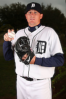 February 27, 2010:  Pitcher Eddie Bonine (49) of the Detroit Tigers poses for a photo during media day at Joker Marchant Stadium in Lakeland, FL.  Photo By Mike Janes/Four Seam Images