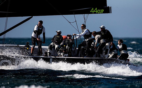 Dun Laoghaire Harbour's Cian Guilfoyle (left) on the winch on Aleph in this week's RC44 Cup in Slovenia -