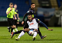 Bolton Wanderers' Reiss Greenidge (bottom) competing with Newcastle United U21's Rodrigo Vilca<br /> <br /> Photographer Andrew Kearns/CameraSport<br /> <br /> EFL Papa John's Trophy - Northern Section - Group C - Bolton Wanderers v Newcastle United U21 - Tuesday 17th November 2020 - University of Bolton Stadium - Bolton<br />  <br /> World Copyright © 2020 CameraSport. All rights reserved. 43 Linden Ave. Countesthorpe. Leicester. England. LE8 5PG - Tel: +44 (0) 116 277 4147 - admin@camerasport.com - www.camerasport.com