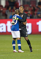 03 June 2012: US Men's National Soccer Team goalkeeper Tim Howard #1and Canadian Men's National Soccer Team forward Simeon Jackson #10 shake hands and embrace at the conclusion of an international friendly  match between the United States Men's National Soccer Team and the Canadian Men's National Soccer Team at BMO Field in Toronto..The game ended in 0-0 draw...