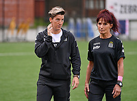 Head Coach Aline Zeler of Sporting Charleroi pictured with physical coach Anne Radermacher during a female soccer game between Sporting Charleroi and White Star Woluwe on the first matchday in the 2021 - 2022 season of Belgian Scooore Womens Super League , friday 20 August 2021 in Marcinelle , Belgium . PHOTO SPORTPIX | DAVID CATRY