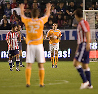Houston Dynamo's Bobby Boswell salutes Dwayne De Rosario. The Houston Dynamo and Chivas USA played to a 1-1 tie at Home Depot Center stadium in Carson, California on Saturday October 25, 2008. Photo by Michael Janosz/isiphotos.com