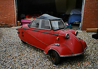 BNPS.co.uk (01202) 558833 <br /> Pic: BNPS<br /> <br /> Good little runner....<br /> <br /> Pictured before It was restored by John Sandford-Hart<br /> <br /> A tiny German bubble car that is less than 4ft long is expected to sell for big money.<br /> <br /> The rare Messerschmitt KR200 was built in 1959 after the famous German company had been banned from making planes for the Luftwaffe.<br /> <br /> The micro cars were cheap and easy to mass produce at a time of austerity after the Second World War. But by the 1970s they were seen as a figure of fun and many of them were discarded. <br /> <br /> Today they are highly collectable and the KR200, which has been fully restored by its owner John Sandford-Hart, is tipped to sell for £30,000.<br /> <br /> It will go under the hammer with auctioneers Charterhouse, of Sherborne, Dorset.