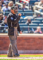 21 April 2013: MLB Umpire Mark Carlson works behind the plate during a game between the New York Mets and the Washington Nationals at Citi Field in Flushing, NY. The Mets shut out the visiting Nationals 2-0, taking the rubber match of their 3-game weekend series. Mandatory Credit: Ed Wolfstein Photo *** RAW (NEF) Image File Available ***