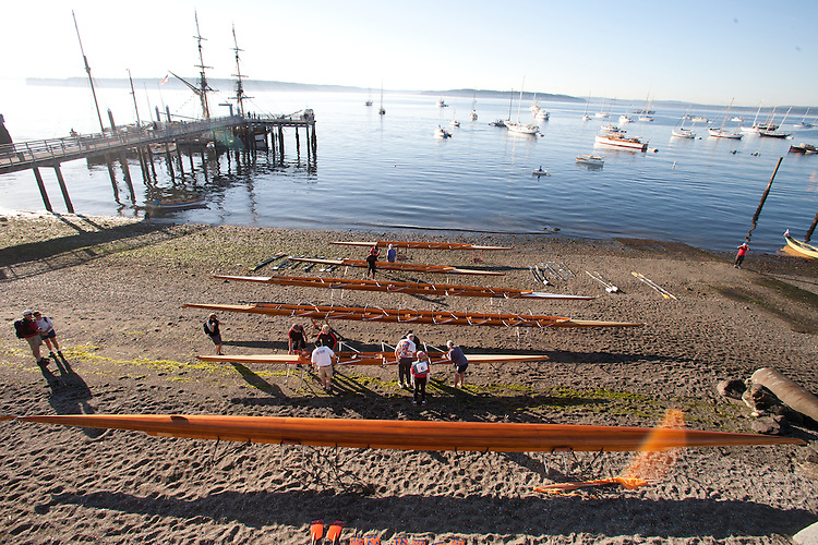 Port Townsend, Rat Island Rowing and Sculling Club, wooden racing shells on the beach, classic cedar racing boats, 2014 Wooden Boat Festival, Olympic Peninsula, Washington State, Pacific Northwest, United States,