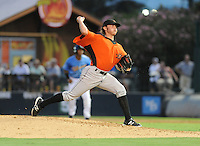 Pitcher Tyler Wilson (26) of the Frederick Keys in a game against the Myrtle Beach Pelicans on August 4, 2012, at TicketReturn.Com Field in Myrtle Beach, South Carolina. Myrtle Beach won, 4-3. (Tom Priddy/Four Seam Images).