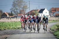 Race lead group<br /> <br /> Due to stormy weather / strong winds, the race in ON almost from the get-go... and soon enough the peloton is chattered into echelons that will hold for the rest of the race.<br /> <br /> 44th AG Driedaagse Brugge-De Panne 2020 (1.UWT / BEL)<br /> 1 day race from Brugge to De Panne (203km shortened to 188km due to the windy weather conditions) <br /> <br /> ©kramon