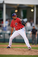 Harrisburg Senators relief pitcher Ronald Pena (20) delivers a pitch during a game against the Akron RubberDucks on August 18, 2018 at FNB Field in Harrisburg, Pennsylvania.  Akron defeated Harrisburg 5-1.  (Mike Janes/Four Seam Images)