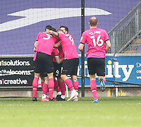 1st May 2021; Liberty Stadium, Swansea, Glamorgan, Wales; English Football League Championship Football, Swansea City versus Derby County; Tom Lawrence of Derby County celebrates with team mates after scoring his sides first goal for 0-1 in the 48th minute
