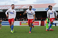 Chike Kandi of Dagenham scores the first goal for his team and celebrates during Dagenham & Redbridge vs Stockport County, Vanarama National League Football at the Chigwell Construction Stadium on 8th February 2020