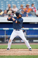 Syracuse Chiefs shortstop Bengie Gonzalez (3) at bat during a game against the Lehigh Valley IronPigs on May 20, 2018 at NBT Bank Stadium in Syracuse, New York.  Lehigh Valley defeated Syracuse 5-2.  (Mike Janes/Four Seam Images)