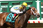 July 27, 2014: Majestic River with Rosie Napravnik win the 69th running of the Grade II Molly Pitcher Stakes for fillies & mares, 3-year olds & up, going 1 1/16 mile at Monmouth Park. Trainer: Todd Pletcher. Owner: Bolton, Lipman & Natronia Racing. Sue Kawczynski/ESW/CSM