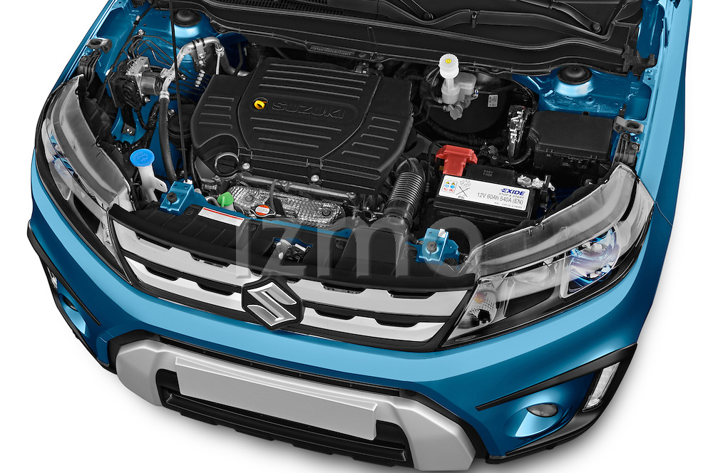 Car stock 2015 Suzuki Vitara Lux Extra 5 Door SUV engine high angle detail view