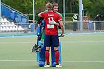 v.li.: Tim Seagon (MHC, 17) und Jean Danneberg (Torwart, MHC, 30), Spieler vom Mannheimer HC (MHC), Jubel nach dem Schlusspfiff, Sieg, Sieger, Gewinner, jubelt, jubeln, Freude, optimistisch, Highlight, Action, Aktion, 01.05.2021, Mannheim  (Deutschland), Hockey, Deutsche Meisterschaft, Viertelfinale, Herren, Mannheimer HC - Harvestehuder THC <br /> <br /> Foto © PIX-Sportfotos *** Foto ist honorarpflichtig! *** Auf Anfrage in hoeherer Qualitaet/Aufloesung. Belegexemplar erbeten. Veroeffentlichung ausschliesslich fuer journalistisch-publizistische Zwecke. For editorial use only.