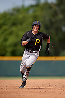Pittsburgh Pirates shortstop Robbie Glendinning (10) running the bases after hitting a triple during an Instructional League intrasquad black and gold game on October 6, 2017 at Pirate City in Bradenton, Florida.  (Mike Janes/Four Seam Images)
