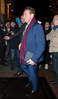 December 11 2017, PARIS FRANCE<br /> Actor Arnold Schwarzenegger at Georges V<br /> Hotel on Avenue George V Paris for the French Summit Climate 2017.