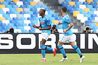 Victor Osimhen of SSC Napoli celebrates with team mate after scoring a goal <br /> during the Serie A football match between SSC Napoli and Atalanta BC at stadio San Paolo in Napoli (Italy), October 17th, 2020. <br /> Photo Cesare Purini / Insidefoto