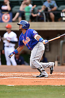 Kingsport Mets first baseman Jose Maria (24) swings at a pitch during a game against the Greeneville Astros at Pioneer Park on July 3, 2016 in Greeneville, Tennessee. The Mets defeated the Astros 11-0. (Tony Farlow/Four Seam Images)