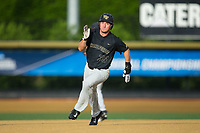 Ben Breazeale (39) of the Wake Forest Demon Deacons hustles towards third base against the West Virginia Mountaineers in Game Six of the Winston-Salem Regional in the 2017 College World Series at David F. Couch Ballpark on June 4, 2017 in Winston-Salem, North Carolina.  The Demon Deacons defeated the Mountaineers 12-8.  (Brian Westerholt/Four Seam Images)