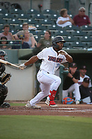 Caleb Scires (39) of the Inland Empire 66ers bats against the Lake Elsinore Storm at San Manuel Stadium on June 15,<br /> 2021 in San Bernardino, California. (Larry Goren/Four Seam Images)