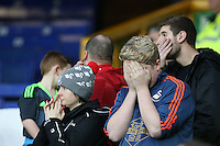 Swansea City Fans look nervous during the Barclays Premier League match between Everton and Swansea City played at Goodison Park, Liverpool