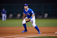 Oklahoma City Dodgers first baseman Max Muncy (13) during a game against the Colorado Springs Sky Sox on June 2, 2017 at Chickasaw Bricktown Ballpark in Oklahoma City, Oklahoma.  Colorado Springs defeated Oklahoma City 1-0 in ten innings.  (Mike Janes/Four Seam Images)