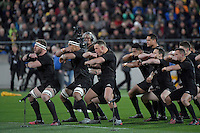 Haka. All Blacks v Wallabies. The Rugby Championship & Bledisloe Cup at Westpac Stadium, Wellington, New Zealand on Saturday 27 August 2016.<br /> Photo by Masanori Udagawa. <br /> www.photowellington.photoshelter.com.