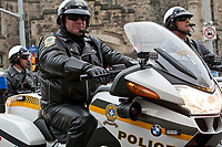 Surete du Quebec Police motorcycle is seen during a police memorial parade in Ottawa Sunday September 26, 2010.