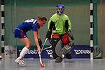 Mannheim, Germany, January 10: During the 1. Verbandsliga Damen Hallensaison 2014/15 hockey match between Feudenheimer HC (blue) and Mannheimer HC 3 (red) (blue) on January 10, 2015 at Irma-Roechling-Halle in Mannheim, Germany. Final score 10-3 (6-2). (Photo by Dirk Markgraf / www.265-images.com) *** Local caption *** Stefanie Deuser #23 of Feudenheimer HC, Maren Voss of Mannheimer HC
