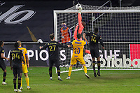 22nd December 2020, Orlando, Florida, USA;  LAFC Kennerth Vermeer saves a shot on goal during the Concacaf Championship between LAFC and Tigres UANL on December 22, 2020, at Exploria Stadium in Orlando, FL.