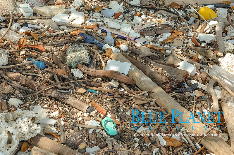 Rubbish and debris washed up onto a Thai beach after Tsunami - taken on Racha Noi Island, south of Phuket, Thailand