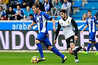Deportivo Alaves' Tomas Pina (l) and Valencia CF's Gonzalo Guedes during La Liga match. October 28,2017. (ALTERPHOTOS/Acero) /NortePhoto.com
