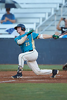 Caleb Jacobs (25) (Mount Olive) of the Mooresville Spinners follows through on his swing against the Concord A's at Moor Park on July 31, 2020 in Mooresville, NC. The Spinners defeated the Athletics 6-3 in a game called after 6 innings due to rain. (Brian Westerholt/Four Seam Images)
